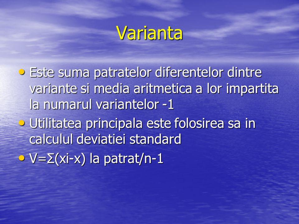 Varianta Este suma patratelor diferentelor dintre variante si media aritmetica a lor impartita la numarul variantelor -1.