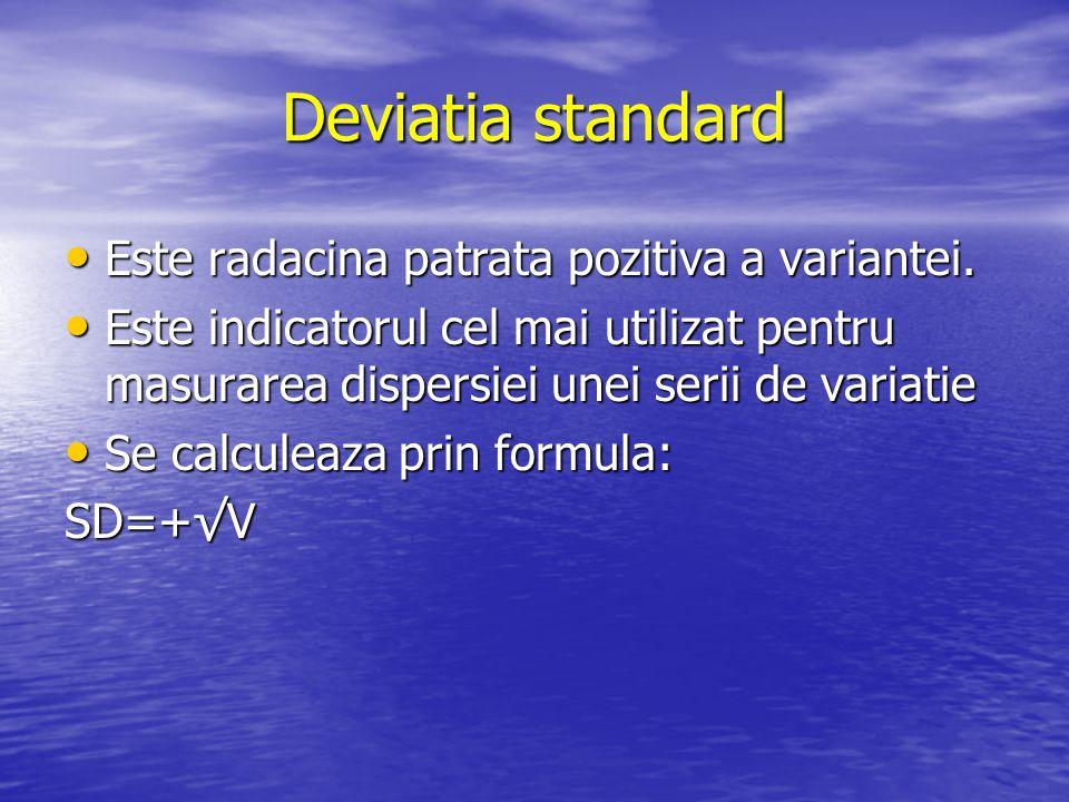 Deviatia standard Este radacina patrata pozitiva a variantei.
