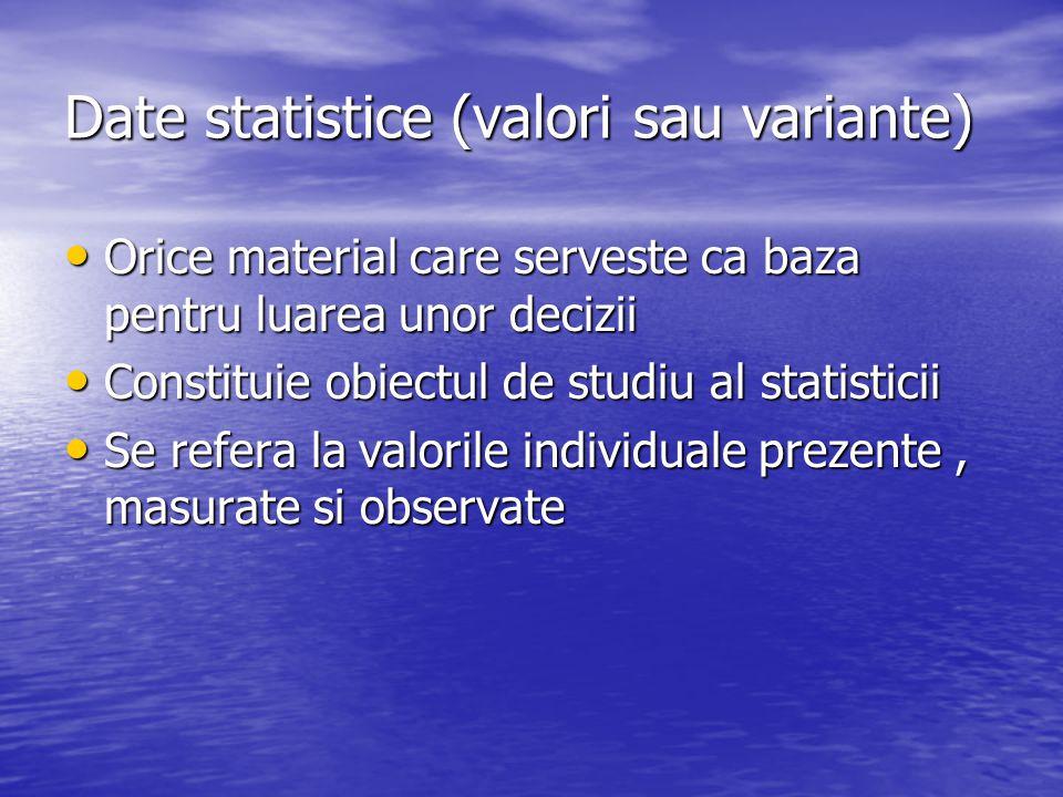 Date statistice (valori sau variante)