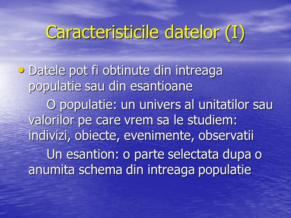 Caracteristicile datelor (I)