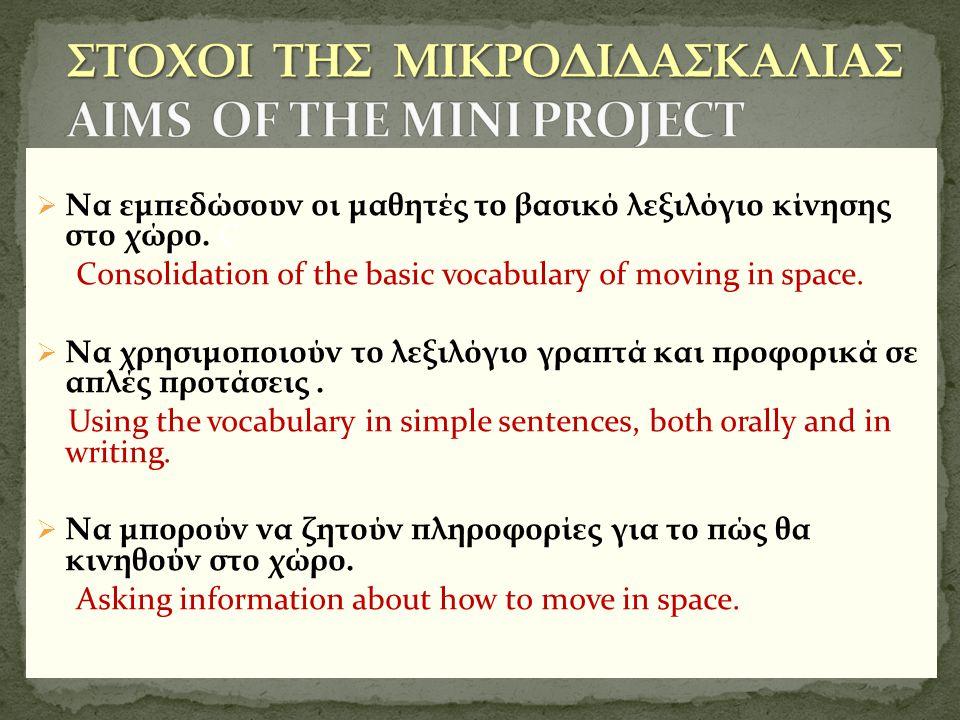 ΣΤΟΧΟΙ ΤΗΣ ΜΙΚΡΟΔΙΔΑΣΚΑΛΙΑΣ AIMS OF THE MINI PROJECT
