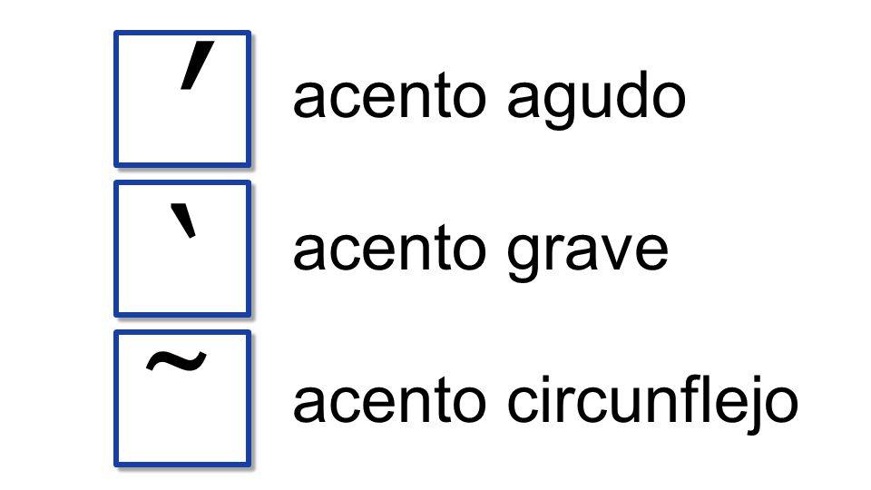 ʹ acento agudo ` acento grave ῀ acento circunflejo