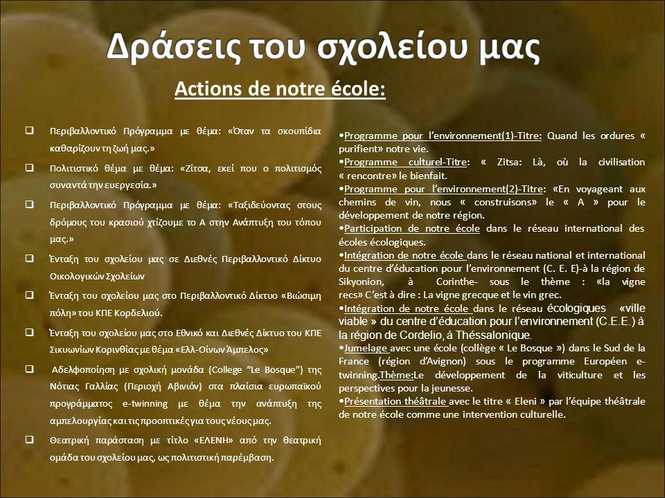 Actions de notre école:
