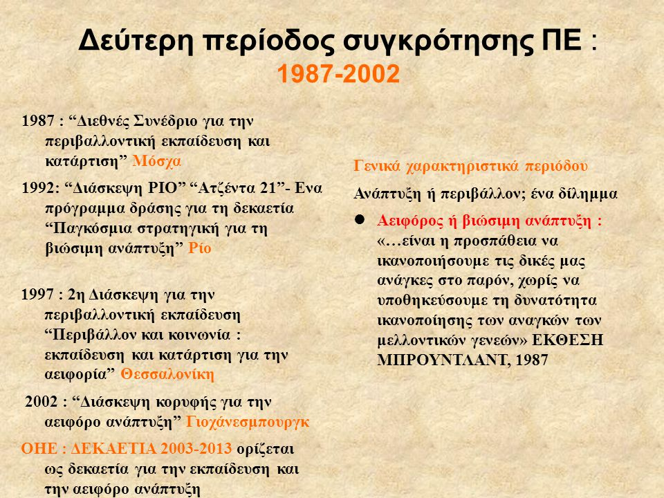 Δεύτερη περίοδος συγκρότησης ΠΕ : 1987-2002