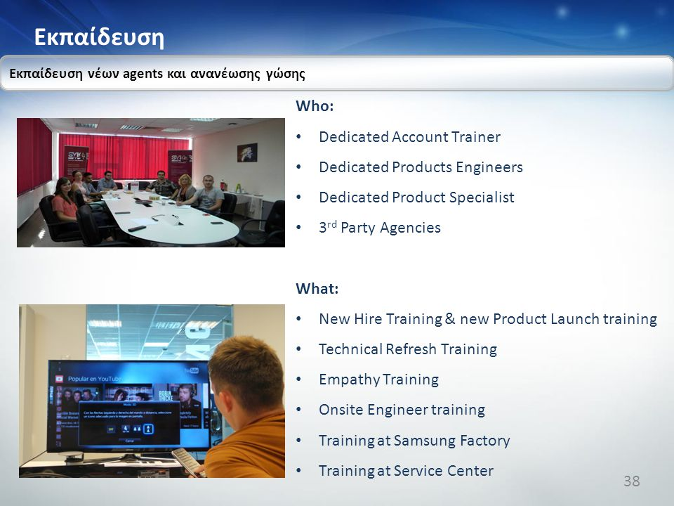 Εκπαίδευση Who: Dedicated Account Trainer Dedicated Products Engineers