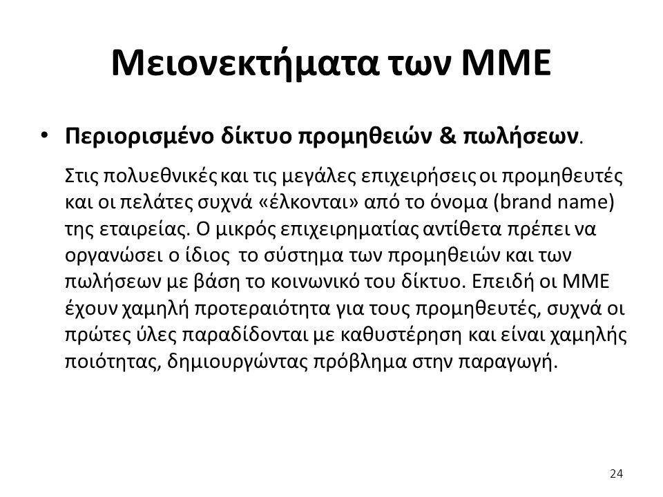 Μειονεκτήματα των ΜΜΕ Περιορισμένο δίκτυο προμηθειών & πωλήσεων.