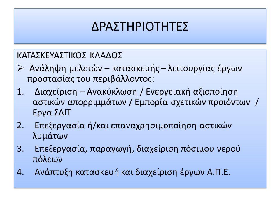 ΔΡΑΣΤΗΡΙΟΤΗΤΕΣ ΚΑΤΑΣΚΕΥΑΣΤΙΚΟΣ ΚΛΑΔΟΣ