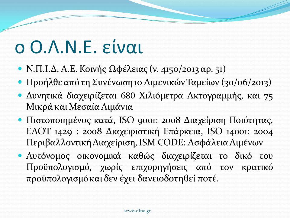 ο Ο.Λ.Ν.Ε. είναι Ν.Π.Ι.Δ. Α.Ε. Κοινής Ωφέλειας (ν. 4150/2013 αρ. 51)