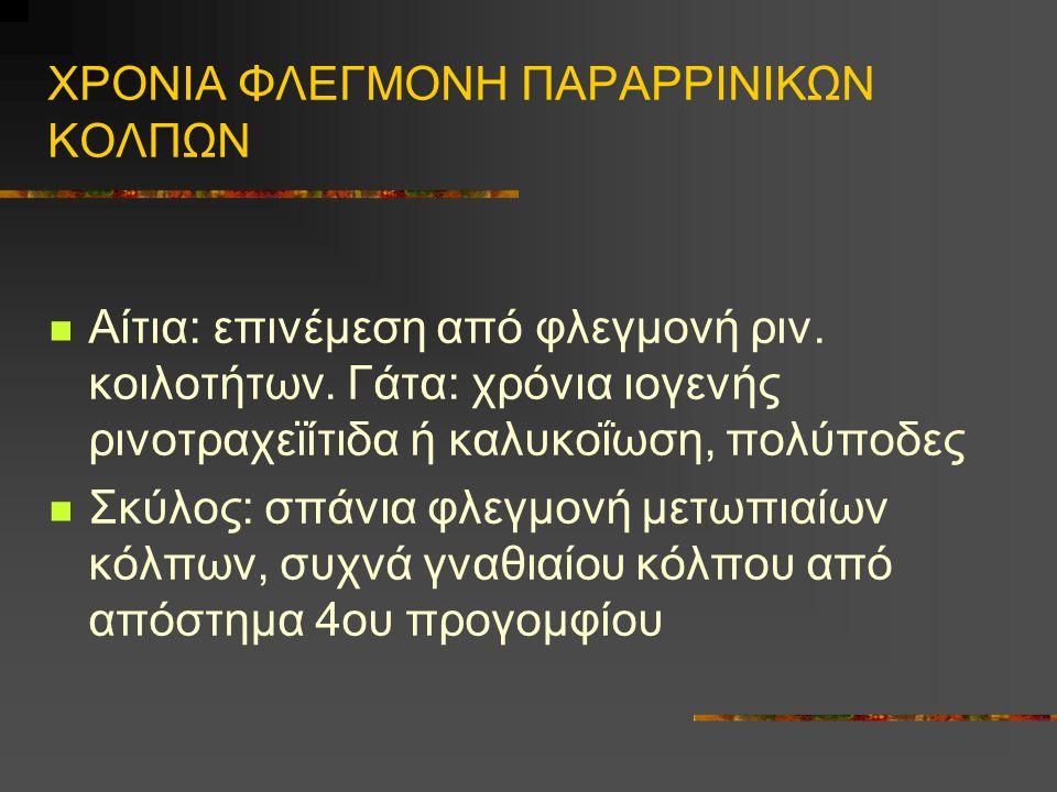 ΧΡΟΝΙΑ ΦΛΕΓΜΟΝΗ ΠΑΡΑΡΡΙΝΙΚΩΝ ΚΟΛΠΩΝ