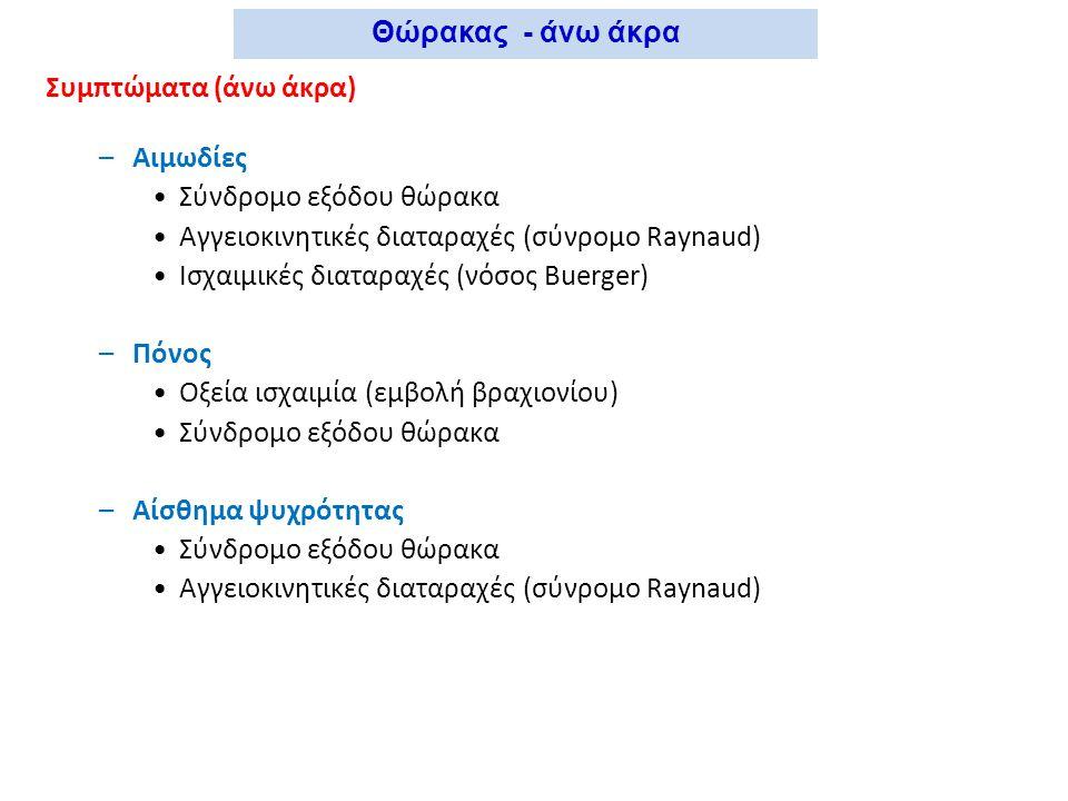 Θώρακας - άνω άκρα Συμπτώματα (άνω άκρα) Αιμωδίες. Σύνδρομο εξόδου θώρακα. Αγγειοκινητικές διαταραχές (σύνρομο Raynaud)