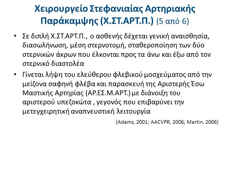 Χειρουργείο Στεφανιαίας Αρτηριακής Παράκαμψης (Χ.ΣΤ.ΑΡΤ.Π.) (6 από 6)