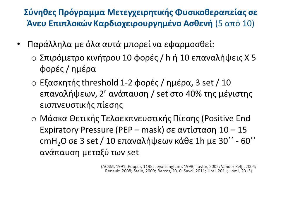 Σύνηθες Πρόγραμμα Μετεγχειρητικής Φυσικοθεραπείας σε Άνευ Επιπλοκών Καρδιοχειρουργημένο Ασθενή (6 από 10)