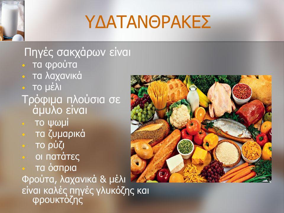 ΥΔΑΤΑΝΘΡΑΚΕΣ Τρόφιμα πλούσια σε άμυλο είναι τα φρούτα τα λαχανικά