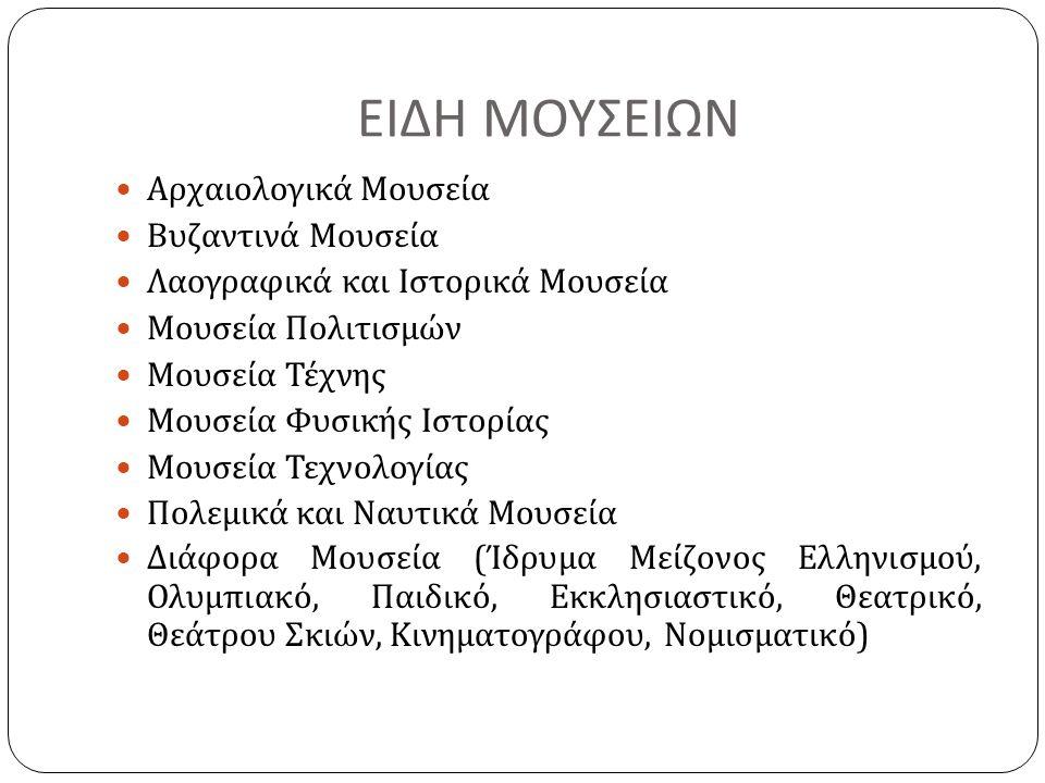 ΕΙΔΗ ΜΟΥΣΕΙΩΝ Αρχαιολογικά Μουσεία Βυζαντινά Μουσεία