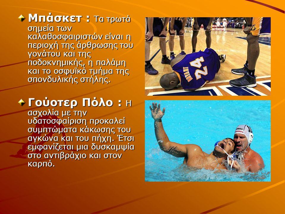 Μπάσκετ : Τα τρωτά σημεία των καλαθοσφαιριστών είναι η περιοχή της άρθρωσης του γονάτου και της ποδοκνημικής, η παλάμη και το οσφυϊκό τμήμα της σπονδυλικής στήλης.