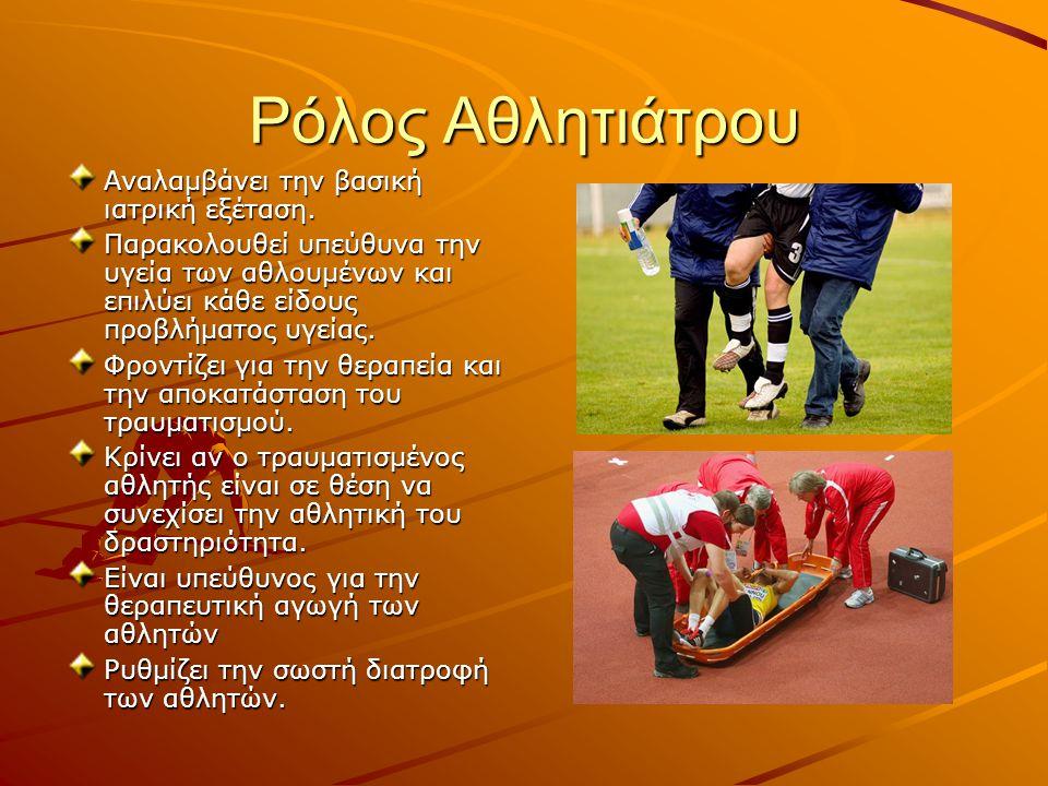 Ρόλος Αθλητιάτρου Αναλαμβάνει την βασική ιατρική εξέταση.