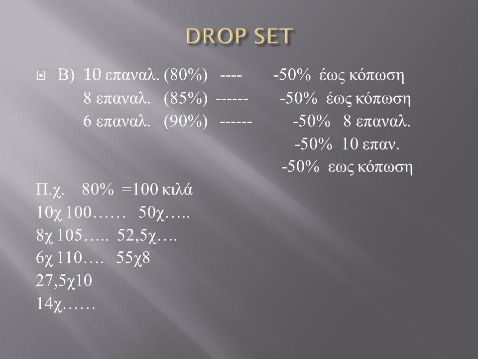 DROP SET Β) 10 επαναλ. (80%) ---- -50% έως κόπωση