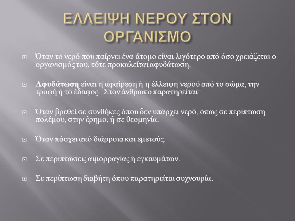 ΕΛΛΕΙΨΗ ΝΕΡΟΥ ΣΤΟΝ ΟΡΓΑΝΙΣΜΟ