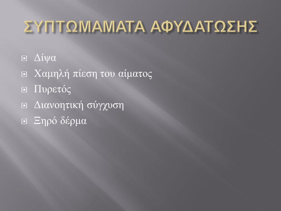 ΣΥΠΤΩΜΑΜΑΤΑ ΑΦΥΔΑΤΩΣΗΣ