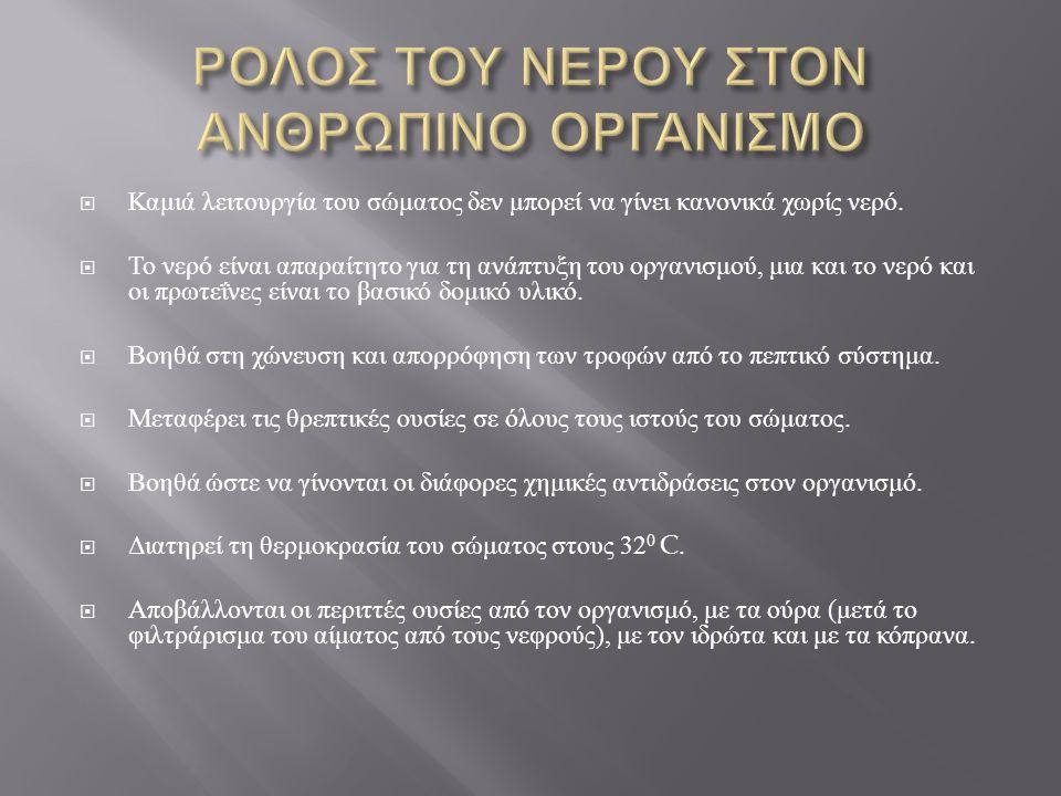 ΡΟΛΟΣ ΤΟΥ ΝΕΡΟΥ ΣΤΟΝ ΑΝΘΡΩΠΙΝΟ ΟΡΓΑΝΙΣΜΟ