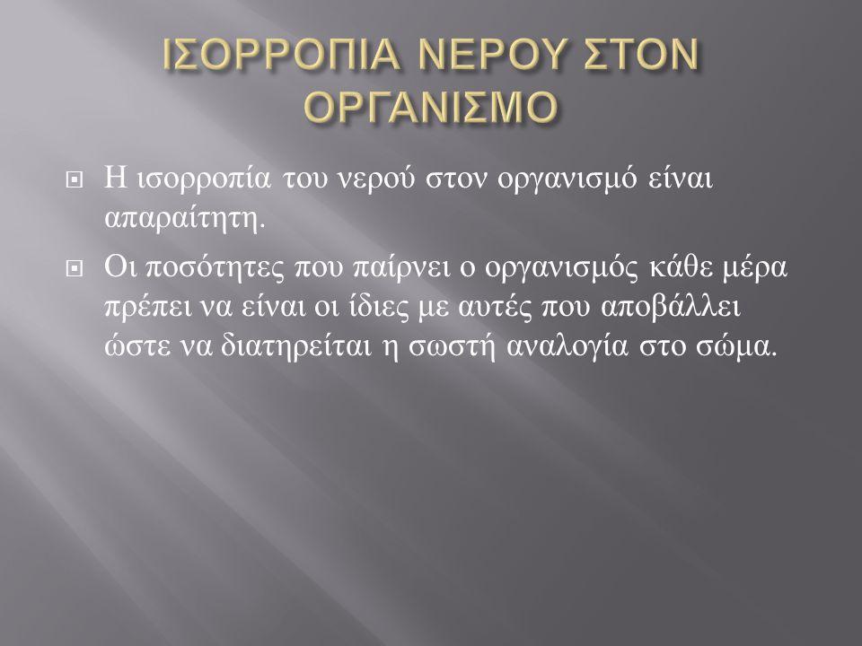 ΙΣΟΡΡΟΠΙΑ ΝΕΡΟΥ ΣΤΟΝ ΟΡΓΑΝΙΣΜΟ