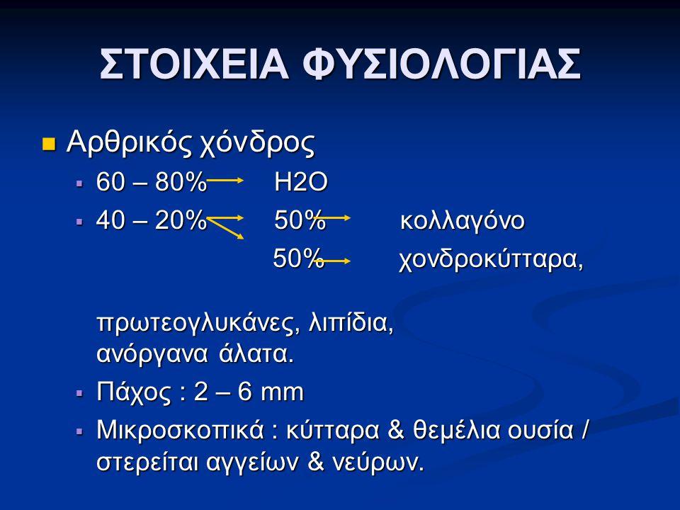 ΣΤΟΙΧΕΙΑ ΦΥΣΙΟΛΟΓΙΑΣ Αρθρικός χόνδρος 60 – 80% Η2Ο