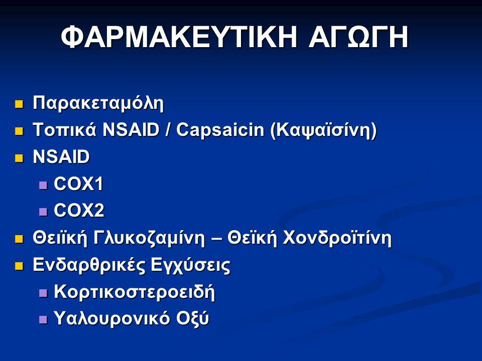 ΦΑΡΜΑΚΕΥΤΙΚΗ ΑΓΩΓΗ Παρακεταμόλη Τοπικά NSAID / Capsaicin (Καψαϊσίνη)