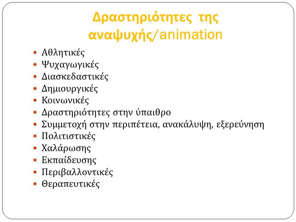 Δραστηριότητες της αναψυχής/animation