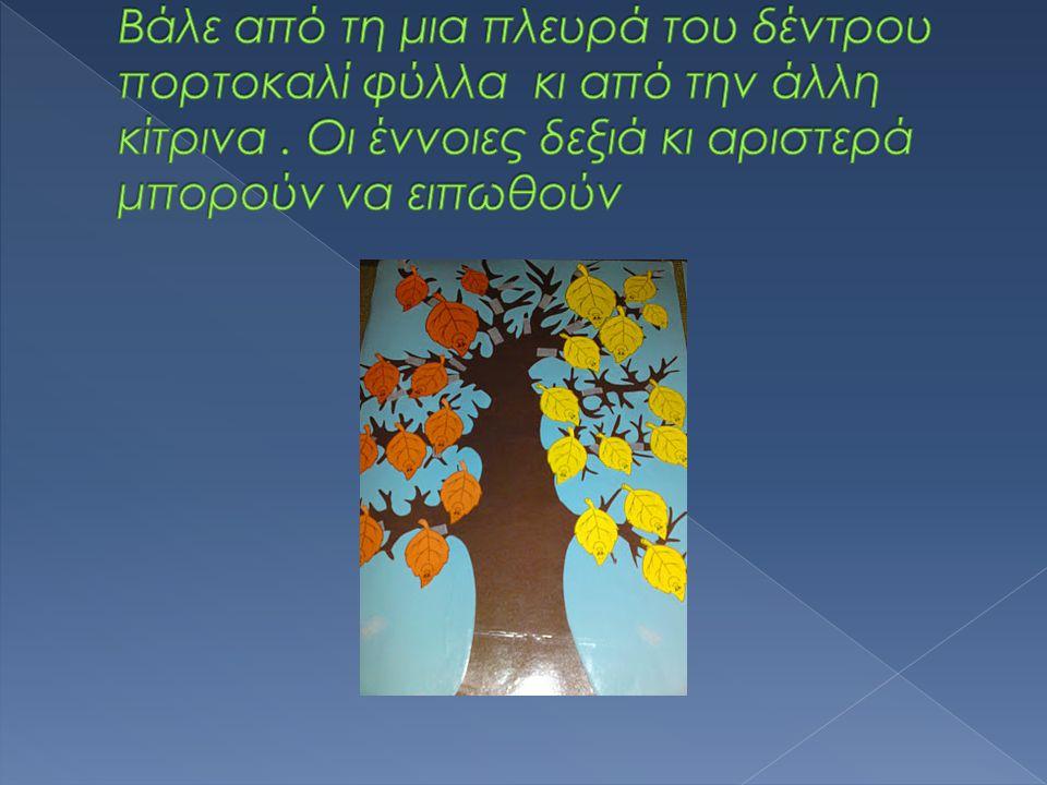 Βάλε από τη μια πλευρά του δέντρου πορτοκαλί φύλλα κι από την άλλη κίτρινα .