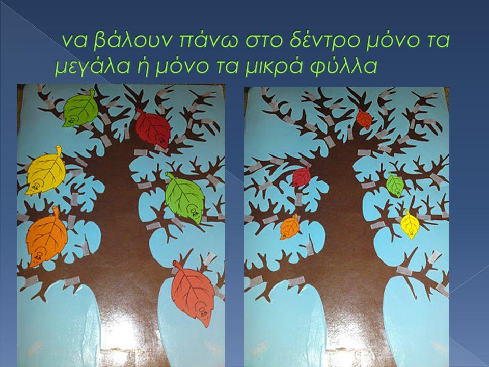 να βάλουν πάνω στο δέντρο μόνο τα μεγάλα ή μόνο τα μικρά φύλλα