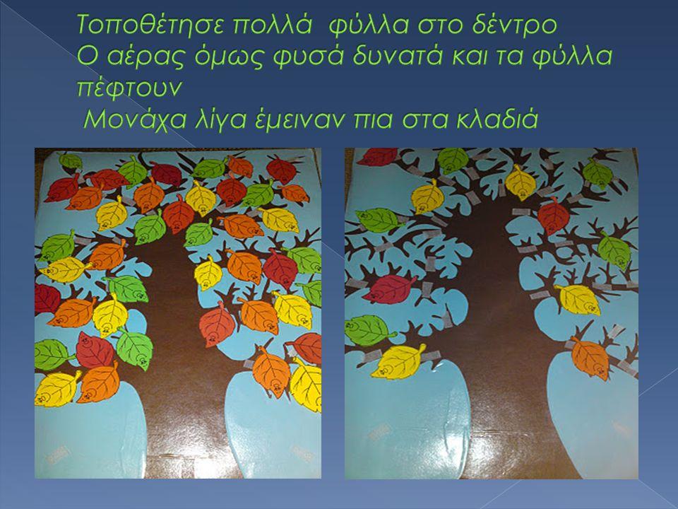 Τοποθέτησε πολλά φύλλα στο δέντρο Ο αέρας όμως φυσά δυνατά και τα φύλλα πέφτουν Μονάχα λίγα έμειναν πια στα κλαδιά