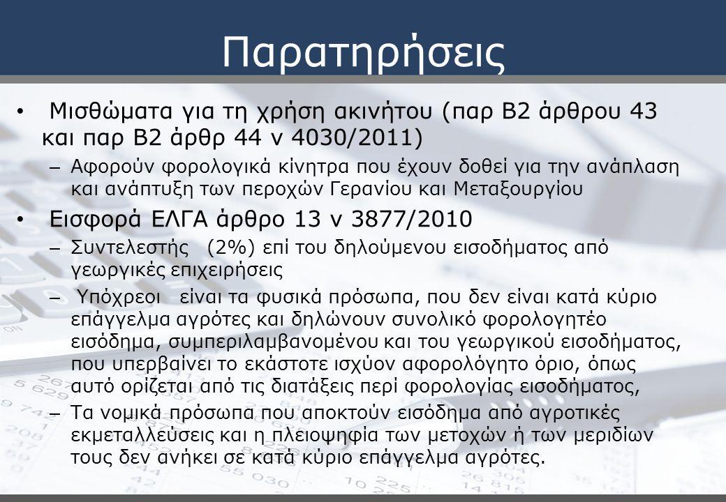 Παρατηρήσεις Μισθώματα για τη χρήση ακινήτου (παρ Β2 άρθρου 43 και παρ Β2 άρθρ 44 ν 4030/2011)