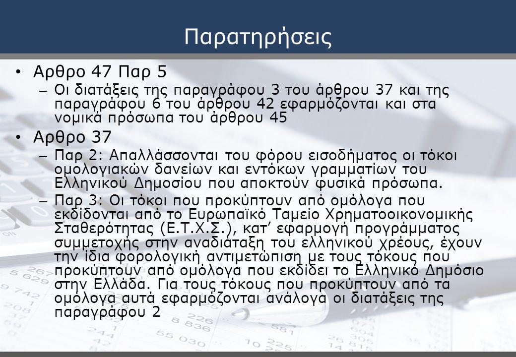 Παρατηρήσεις Αρθρο 47 Παρ 5 Αρθρο 37