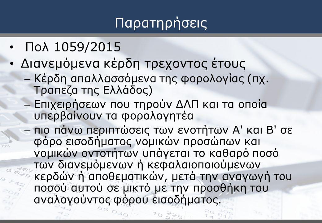 Παρατηρήσεις Πολ 1059/2015 Διανεμόμενα κέρδη τρεχοντος έτους