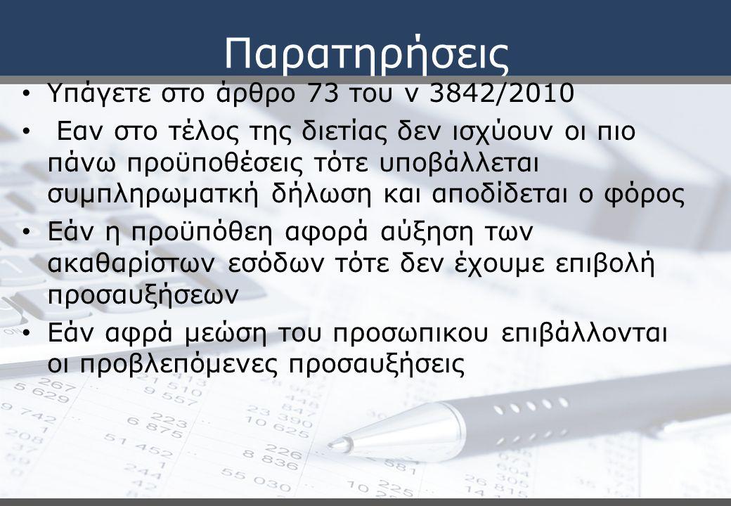 Παρατηρήσεις Υπάγετε στο άρθρο 73 του ν 3842/2010