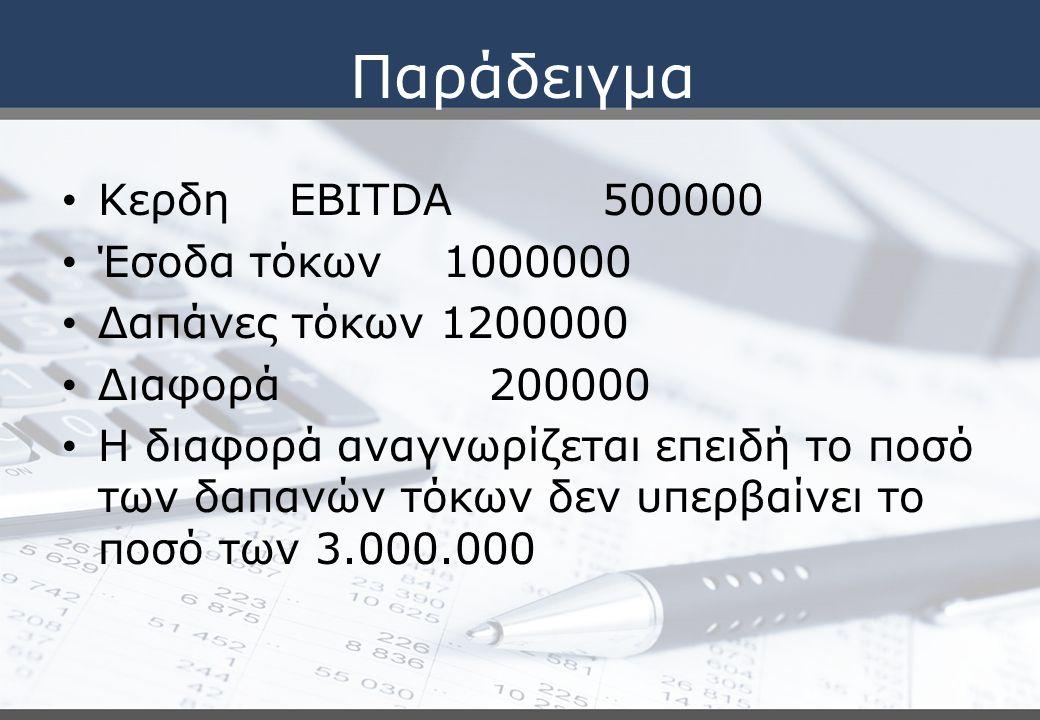 Παράδειγμα Κερδη EBITDA 500000 Έσοδα τόκων 1000000
