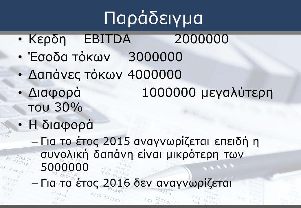 Παράδειγμα Κερδη EBITDA 2000000 Έσοδα τόκων 3000000