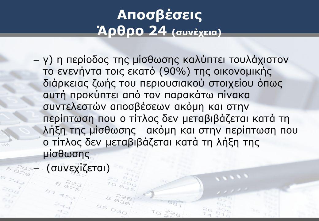 Αποσβέσεις Άρθρο 24 (συνέχεια)