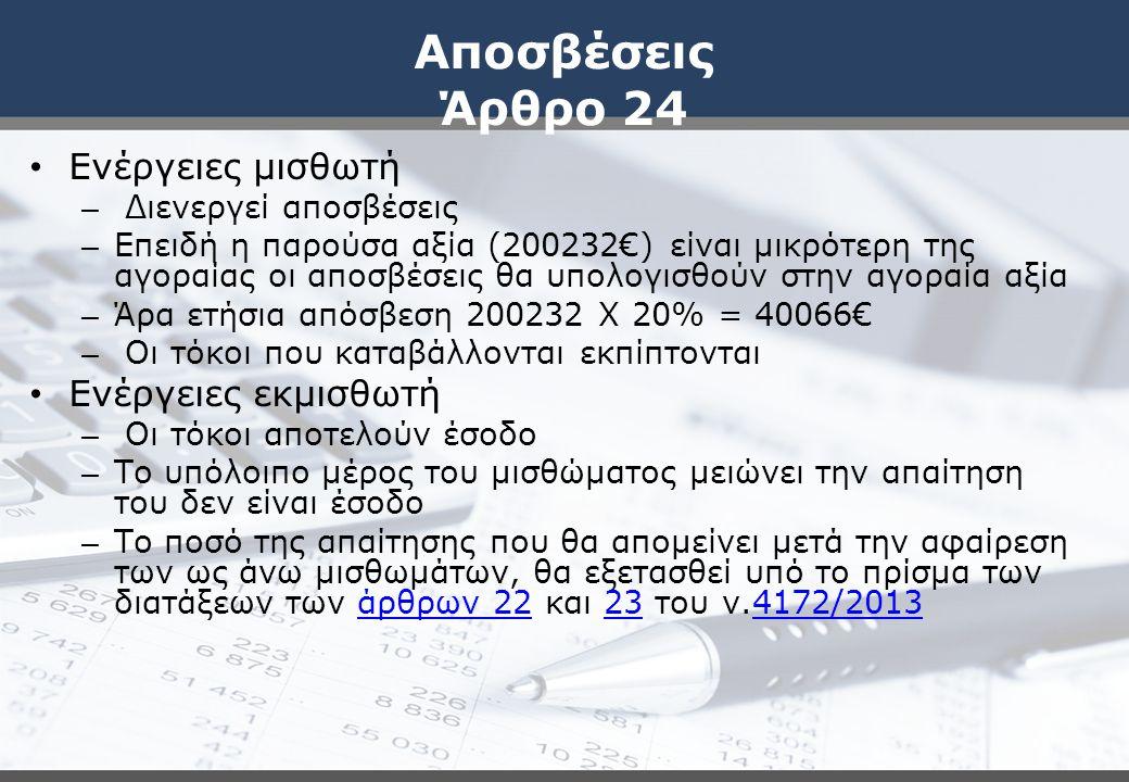 Αποσβέσεις Άρθρο 24 Ενέργειες μισθωτή Ενέργειες εκμισθωτή