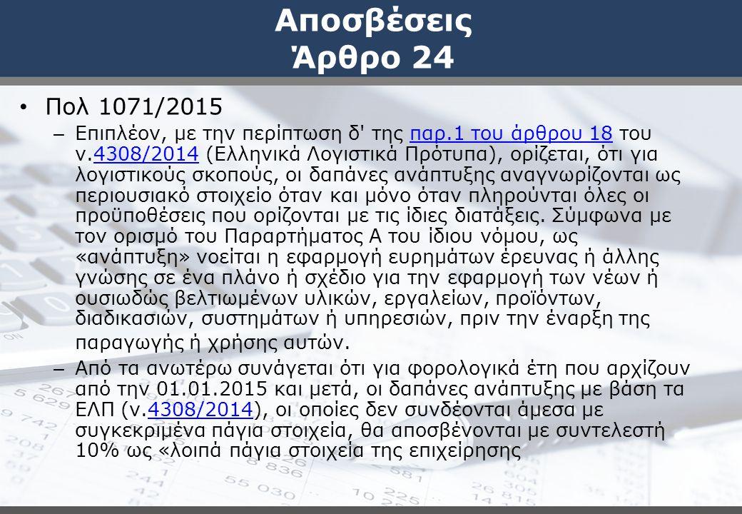 Αποσβέσεις Άρθρο 24 Πολ 1071/2015.