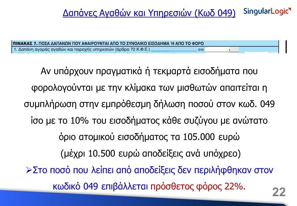 Δαπάνες Αγαθών και Υπηρεσιών (Κωδ 049)