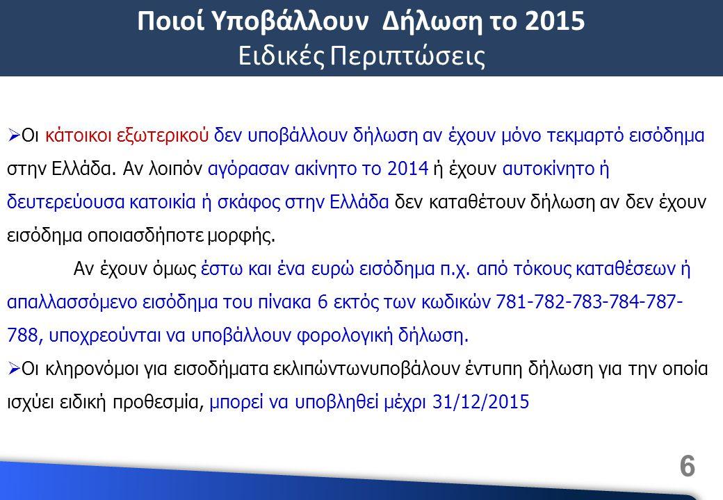 Ποιοί Υποβάλλουν Δήλωση το 2015