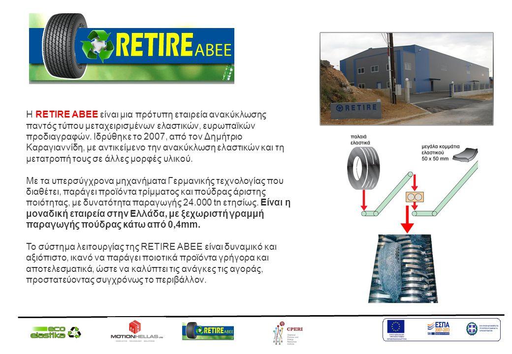 Η RETIRE ΑΒΕΕ είναι μια πρότυπη εταιρεία ανακύκλωσης παντός τύπου μεταχειρισμένων ελαστικών, ευρωπαϊκών προδιαγραφών. Ιδρύθηκε το 2007, από τον Δημήτριο Καραγιαννίδη, με αντικείμενο την ανακύκλωση ελαστικών και τη μετατροπή τους σε άλλες μορφές υλικού.