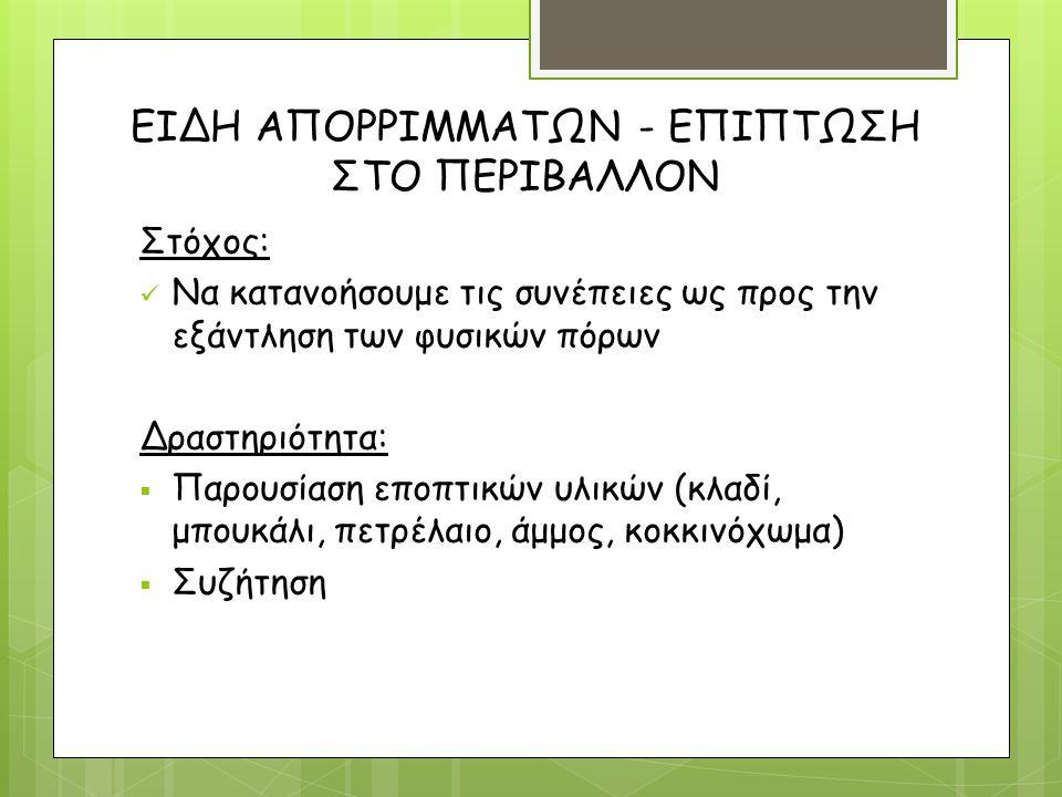 ΕΙΔΗ ΑΠΟΡΡΙΜΜΑΤΩΝ - ΕΠΙΠΤΩΣΗ ΣΤΟ ΠΕΡΙΒΑΛΛΟΝ