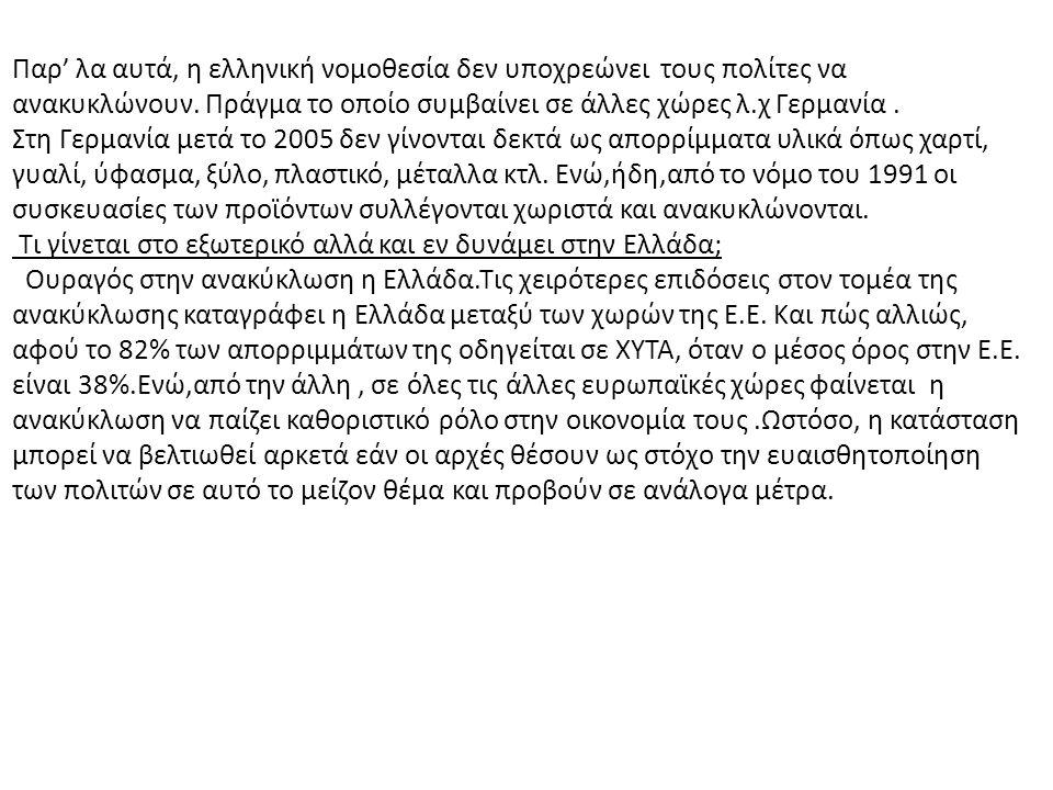 Παρ' λα αυτά, η ελληνική νομοθεσία δεν υποχρεώνει τους πολίτες να ανακυκλώνουν. Πράγμα το οποίο συμβαίνει σε άλλες χώρες λ.χ Γερμανία .