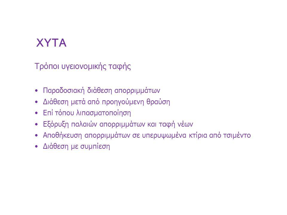 XYTA Τρόποι υγειονομικής ταφής Παραδοσιακή διάθεση απορριμμάτων