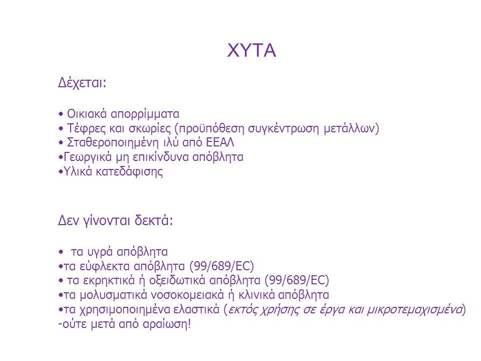 XYTA Δέχεται: Δεν γίνονται δεκτά: Οικιακά απορρίμματα