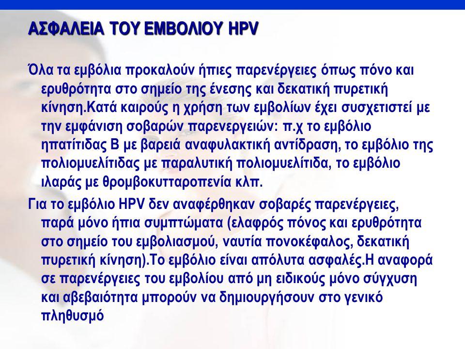 AΣΦΑΛΕΙΑ ΤΟΥ ΕΜΒΟΛΙΟΥ HPV