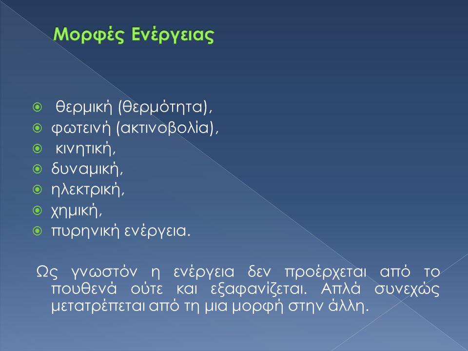 Μορφές Ενέργειας θερμική (θερμότητα), φωτεινή (ακτινοβολία), κινητική,