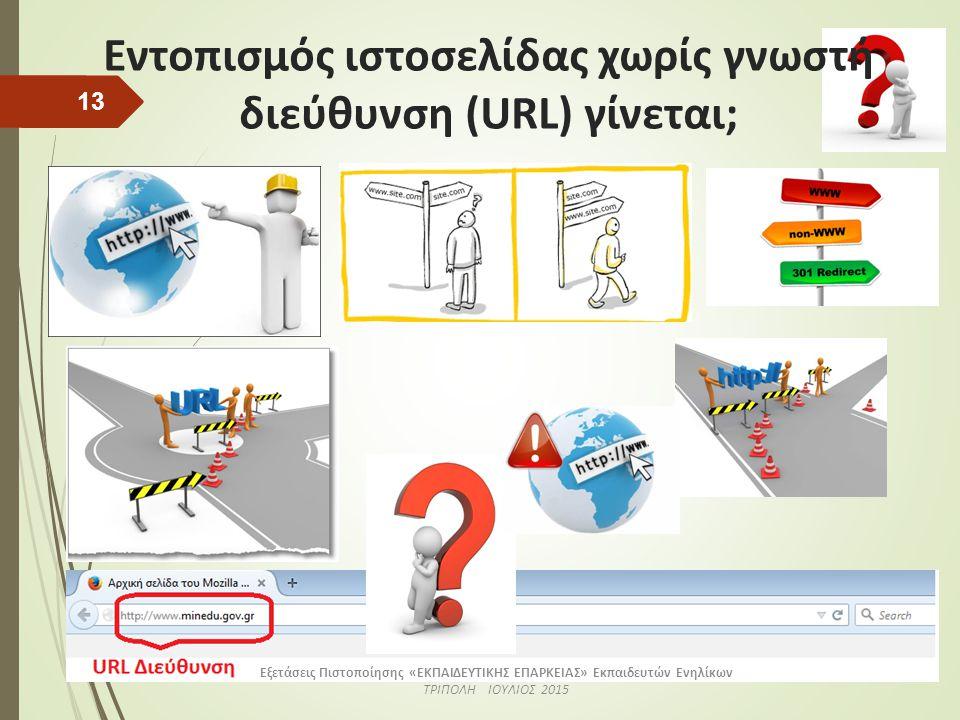 Εντοπισμός URL διεύθυνσης μιας ιστοσελίδας